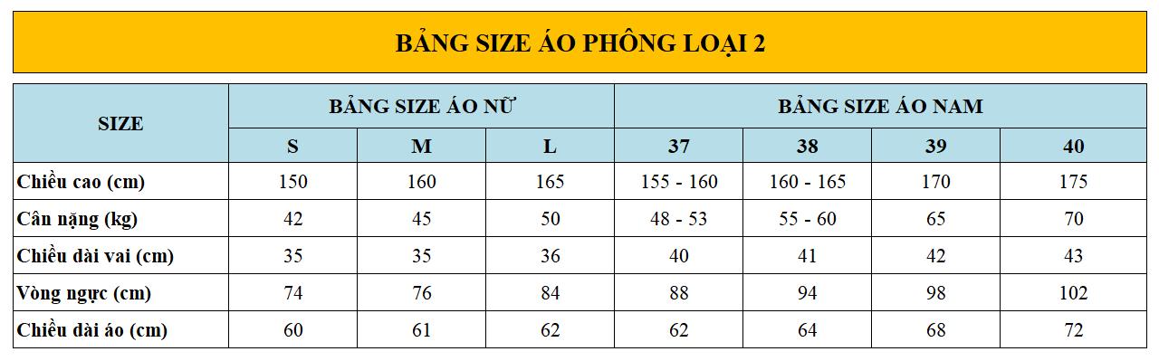 Bang size ao phong loai 2