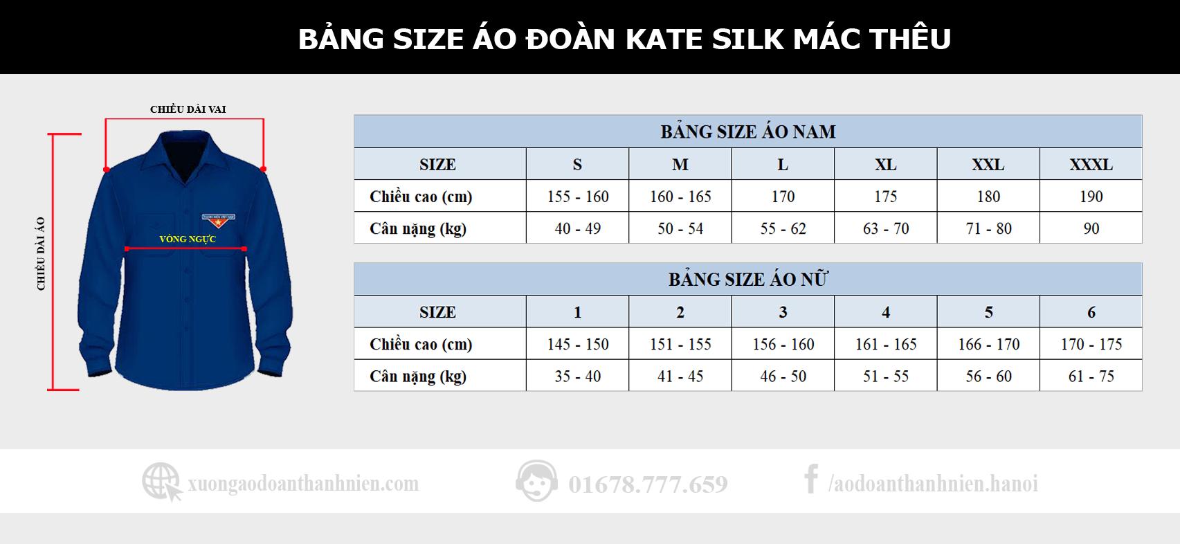 bang size ao doan kate silk