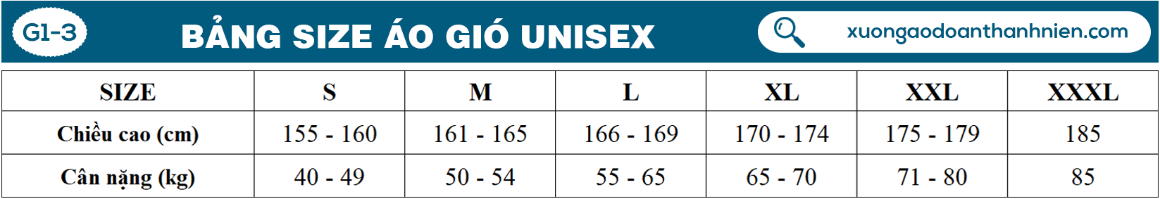 Bang size ao gio unisex G1 3
